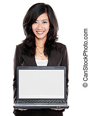 business woman showing blank laptop screen