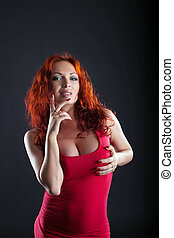 Portrait of beautiful busty stripper, close-up - Portrait of...