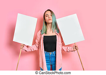 portrait of beautiful caucasian girl with poster promoting feminism