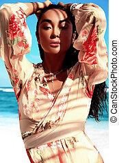 portrait of beautiful caucasian sunbathed woman model with...