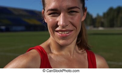 Portrait of Beautiful Charming Sports Woman - Happy Smiling...