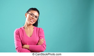 Portrait of beautiful cheerful girl with long black hair...