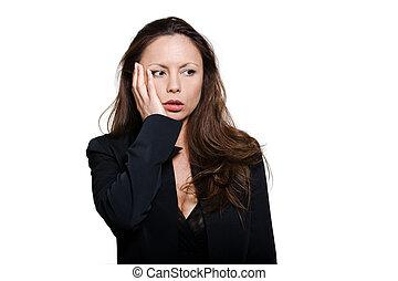 Portrait of beautiful distraught Asian woman