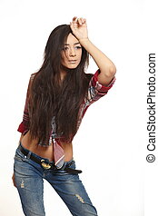 portrait of beautiful fashion sexy brunette girl in jeans and colorful shirt isolated on white