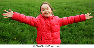 Portrait of beautiful girl have fun in the park
