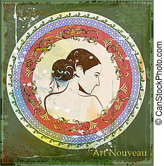 portrait of beautiful girl in art nouveau style