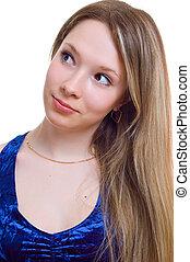 Portrait of beautiful girl in blue dress