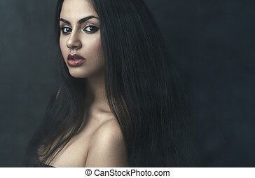 portrait of beautiful girl in the fog - portrait of a...