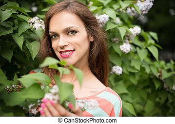 portrait of beautiful girl outdoors