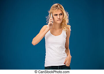 Portrait of beautiful girl with modern l phone