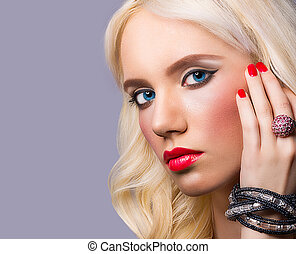 Portrait of beautiful girl with perfect makeup