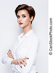Portrait of beautiful girl with short hair