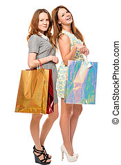 Portrait of beautiful girls with gifts on a white background