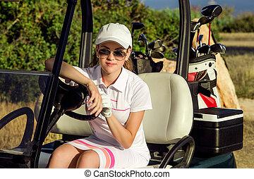 portrait of beautiful golf girl