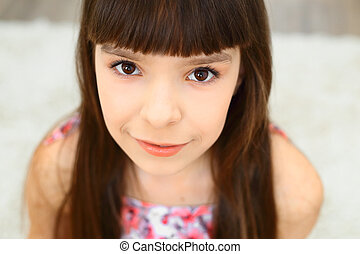 little girl brown eyes - Portrait of beautiful happy little...