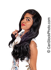 Portrait of beautiful Indian woman.