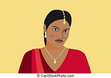 Portrait of beautiful indian woman. A young Hindu girl in traditional clothes and with golden jewelry. Woman in red sari and tika, teak in her hair. Isolated silhouette on a yellow background