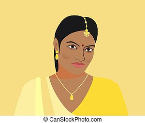 Portrait of beautiful indian woman. A young Hindu girl in traditional clothes and with golden jewelry. Woman in yellow sari and tika, teak in her hair. Isolated silhouette on yellow background.