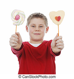 boy with two lollipops