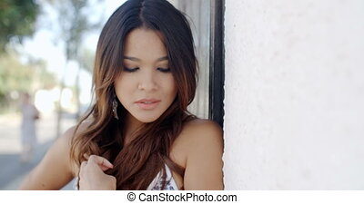 Portrait of Beautiful Lady Posing Outdoor