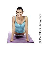 beautiful lady practicing yoga exercise