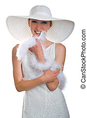laughing girl in white hat, dress and boa