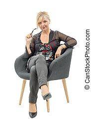 Portrait of beautiful mature  blond woman
