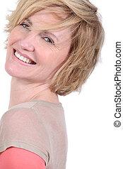 portrait of beautiful mature blonde lady