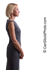beautiful mid aged woman. Profile view - Portrait of...