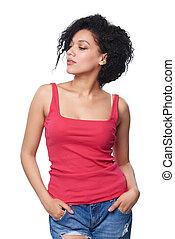 Portrait of beautiful mixed race caucasian - african american woman