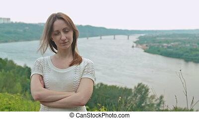 Portrait of beautiful model looking at camera