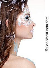 model with skew bodyart - portrait of beautiful model with ...