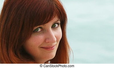 Portrait of Beautiful Red Haired Woman With Green Eyes