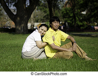 Portrait of beautiful senior couple in park