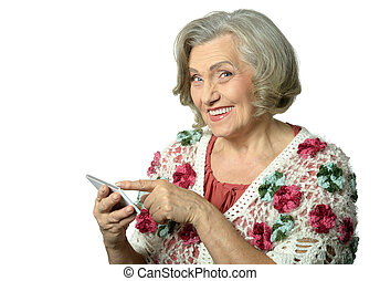 senior woman using phone
