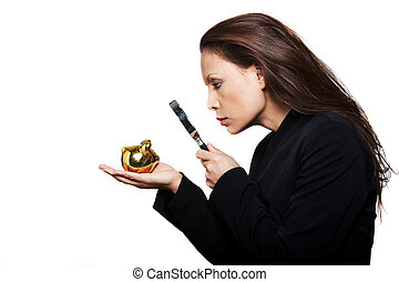 Portrait of beautiful serious woman with small savings