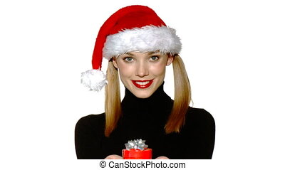 Portrait of beautiful sexy girl wearing santa claus hat