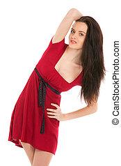 portrait of beautiful sexy woman wearing red dress