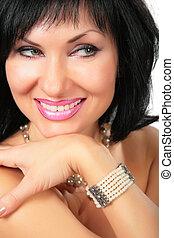 Portrait of beautiful smiling brunette