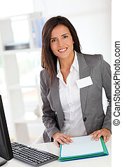 Portrait of beautiful smiling hostess