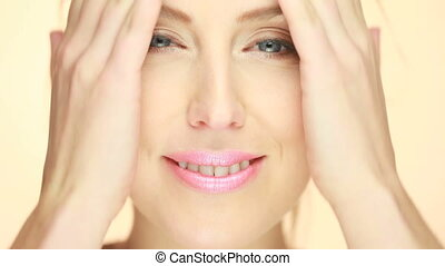 Portrait Of Beautiful Smiling Woman, extreme close up of...