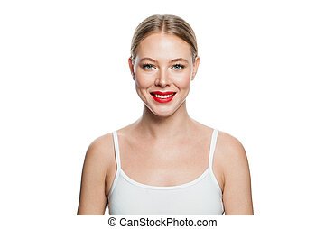 Portrait of beautiful smiling woman isolated on white background