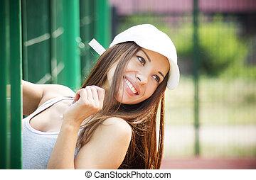 Portrait of beautiful smiling woman closeup