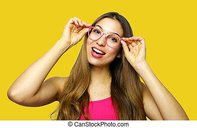 Portrait of beautiful smiling woman wear glasses