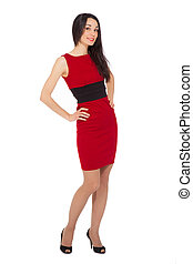 portrait of beautiful smiling woman wearing red dress and black shoes over white background