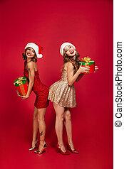 Portrait of beautiful smiling women in christmas hats