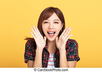Portrait of beautiful smiling young asian woman