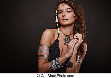 Portrait of beautiful swag young woman - Portrait of...