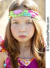 Portrait of beautiful teen girl outdoors