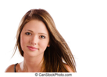 Portrait of beautiful teenage girl with serious expression isolated on white